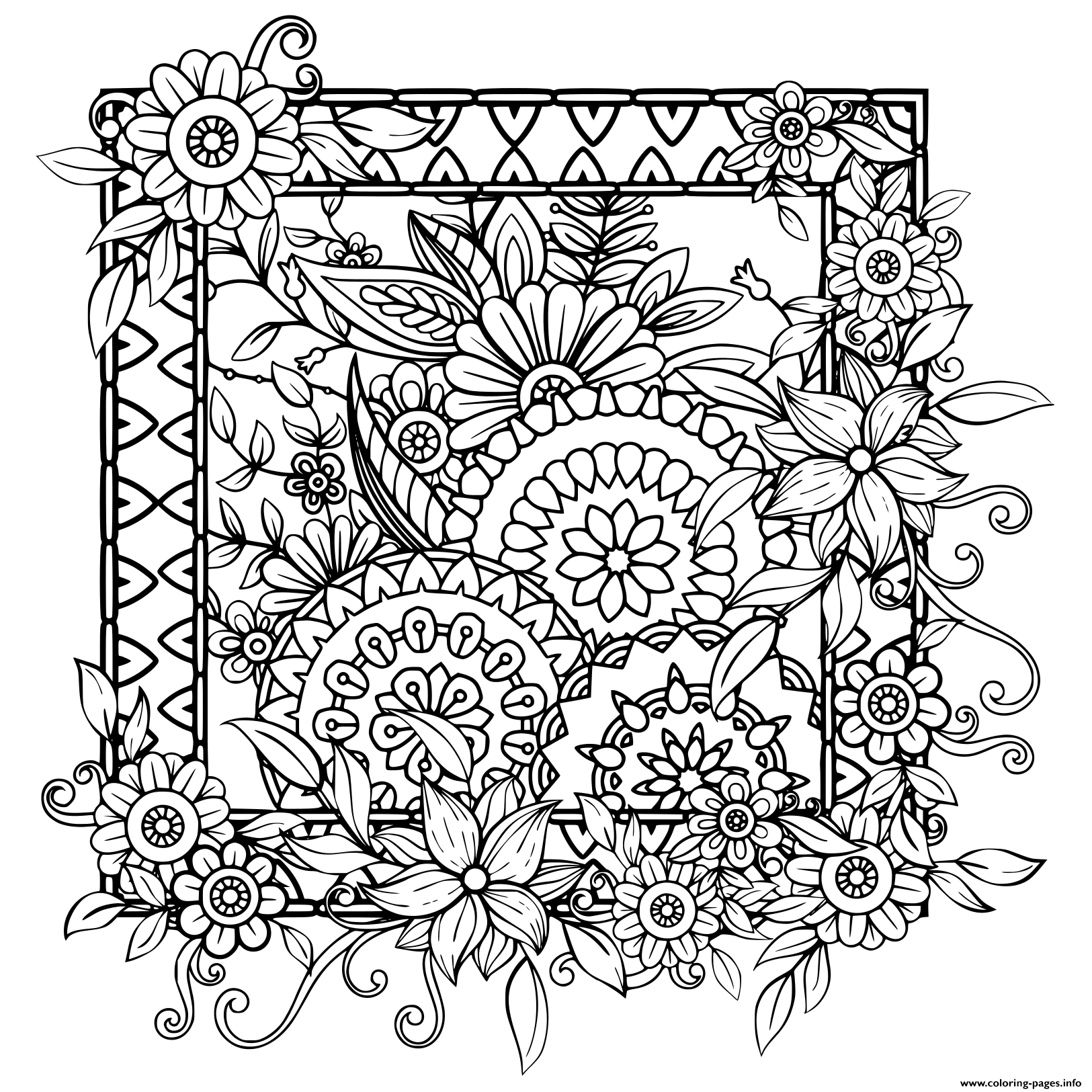 flower coloring patterns flowers paisley design coloring pages hellokidscom coloring flower patterns