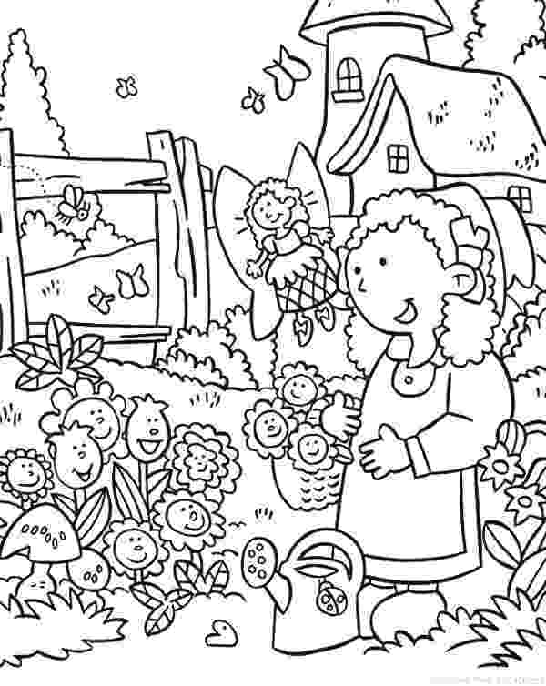 flower garden colouring picture girl carrying flowers to the flower garden coloring pages picture flower garden colouring