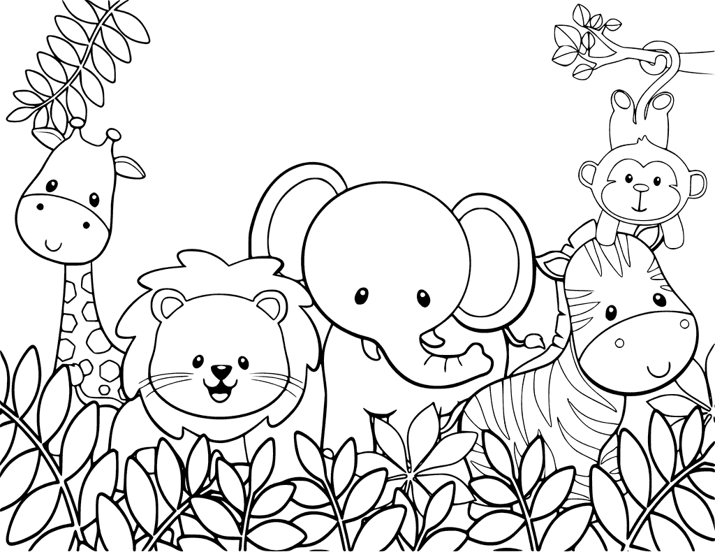 free animal coloring pages cute jungle animals coloring page coloring free pages animal