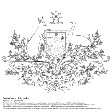 free australian colouring pages australian coat of arms coloring page free printable australian colouring pages free