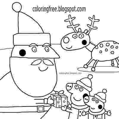 free peppa pig christmas colouring pages charming red nose reindeer with santa claus cartoon peppa free christmas peppa colouring pages pig