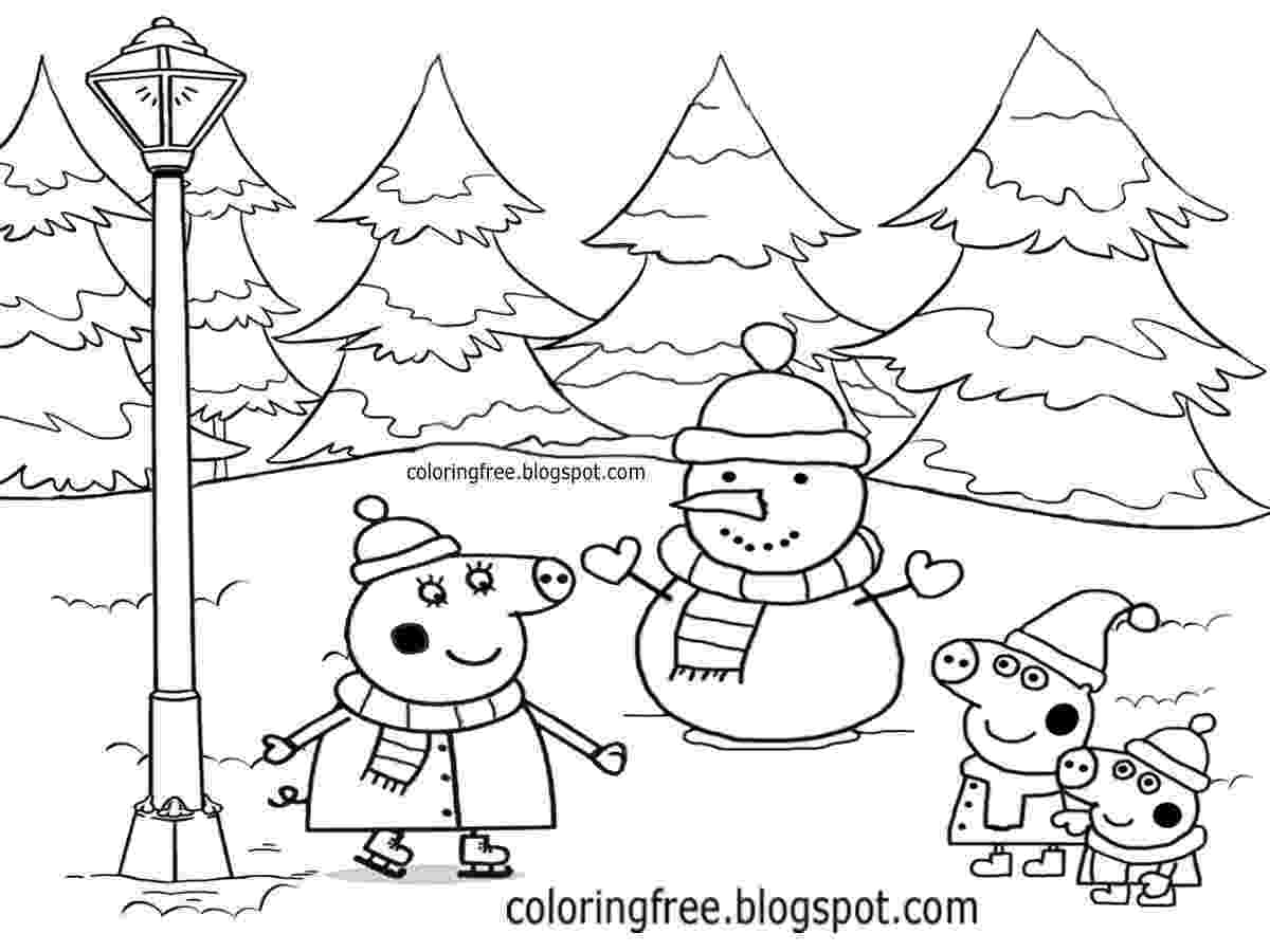 free peppa pig christmas colouring pages peppa pig colouring in printables plus huge peppa pig pages pig colouring free peppa christmas