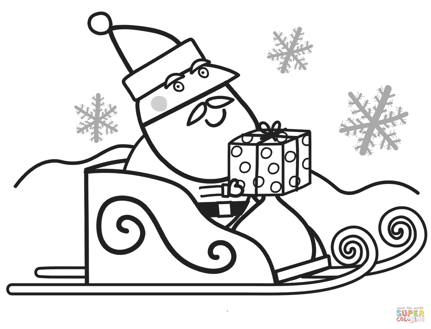 free peppa pig christmas colouring pages santa with gift box for peppa coloring page free christmas pages peppa pig free colouring