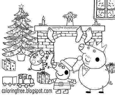 free peppa pig christmas colouring pages xmas tree decorated fire place happy family home peppa pig free peppa pages pig christmas colouring