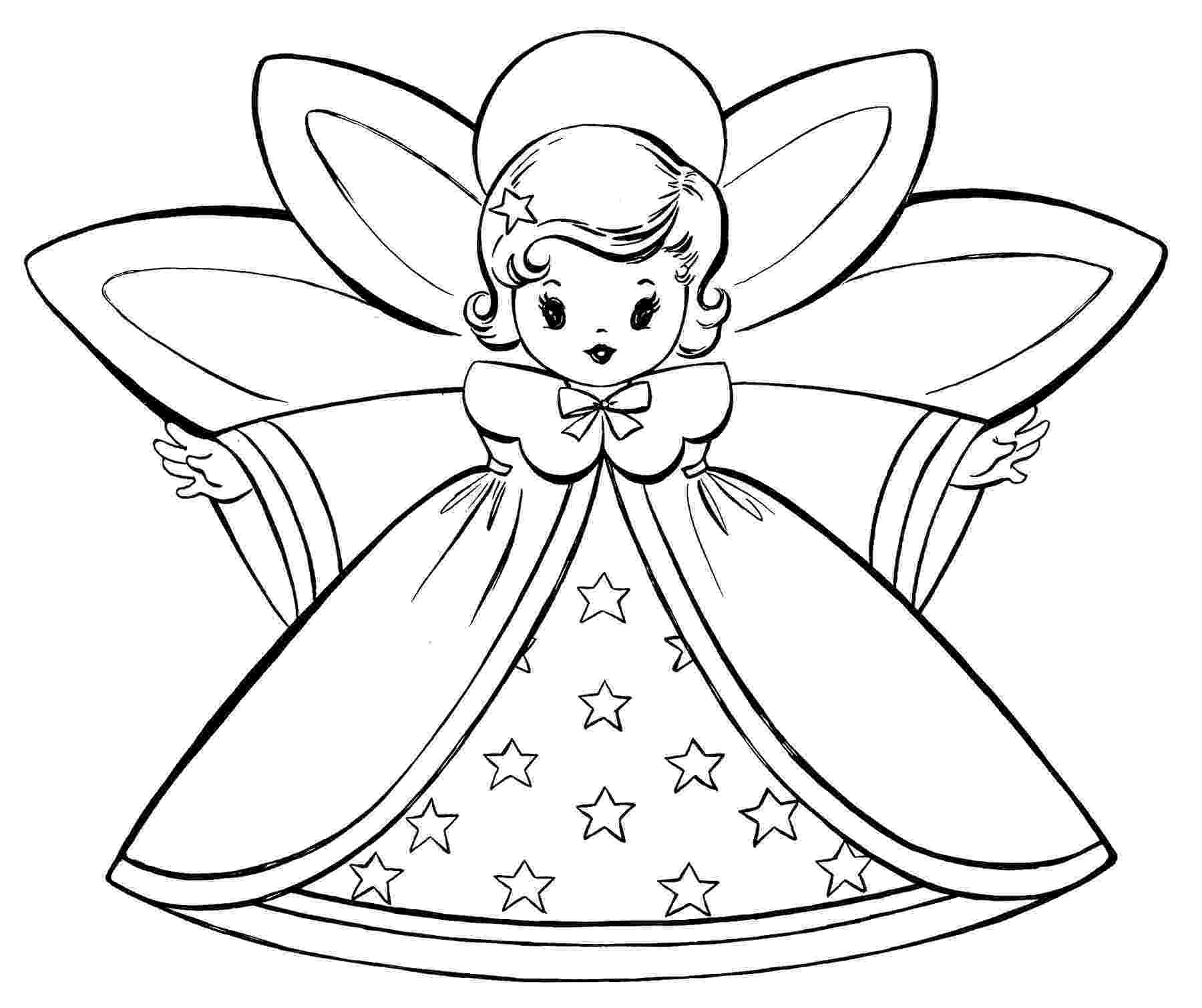 free printable christmas coloring pages free christmas coloring pages retro angels the printable coloring christmas free pages