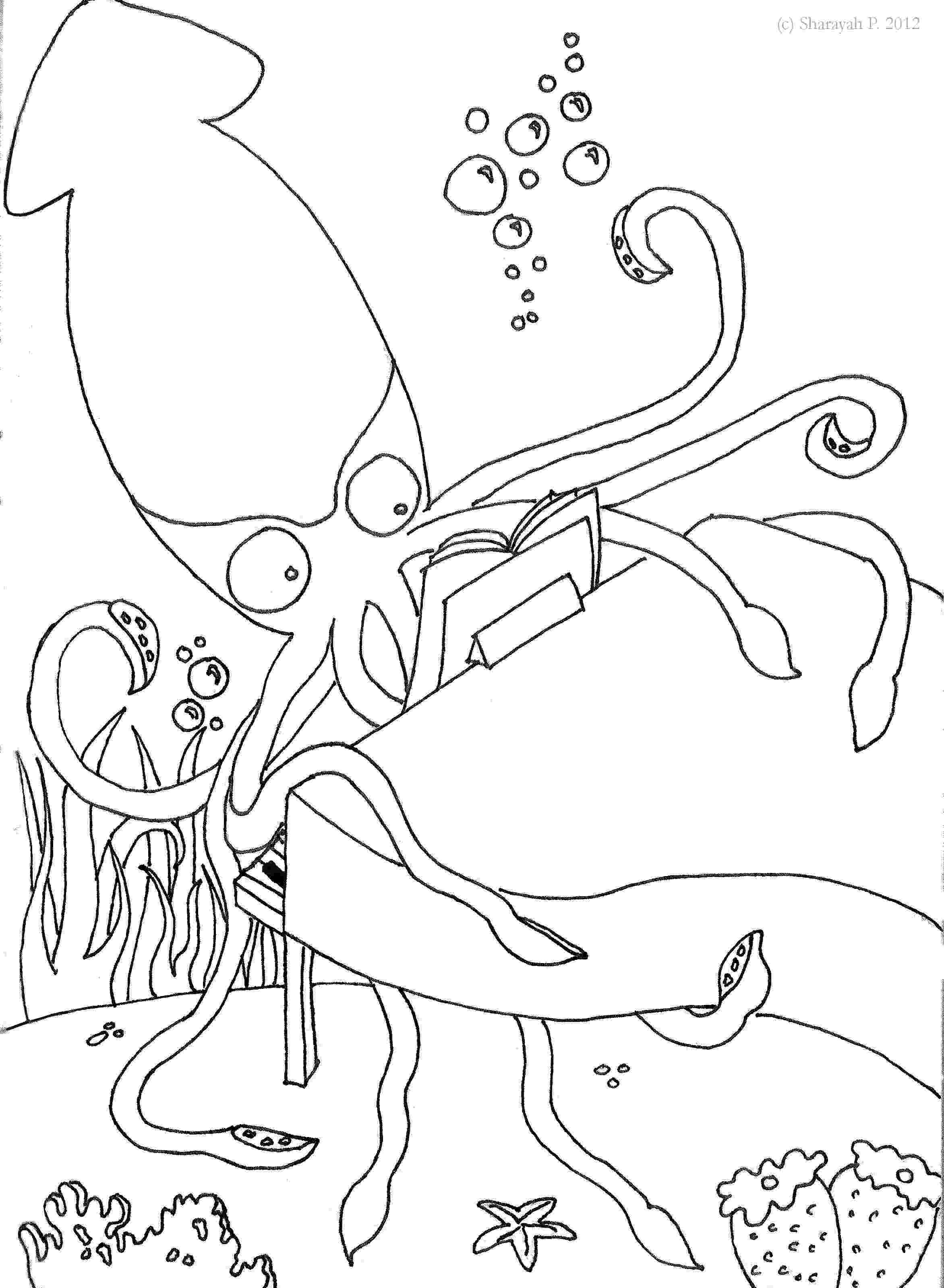 giant squid coloring pages giant squid attack game module interior brush and ink 1987 giant coloring pages squid