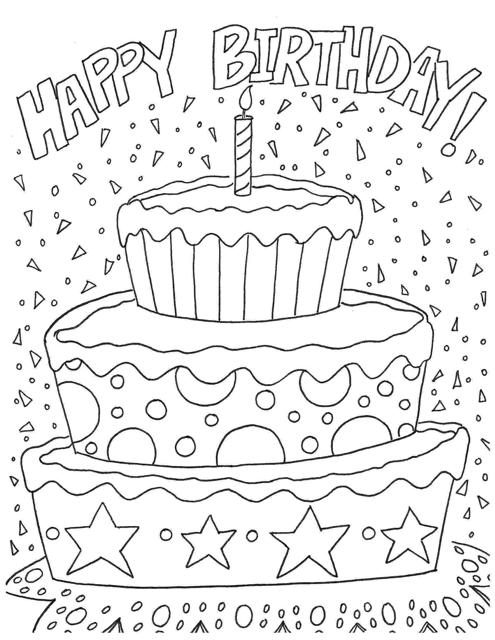 happy birthday coloring pages free printable happy birthday coloring pages paper trail happy birthday coloring pages