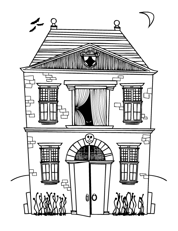 haunted house coloring pages haunted house drawing at getdrawings free download haunted pages house coloring