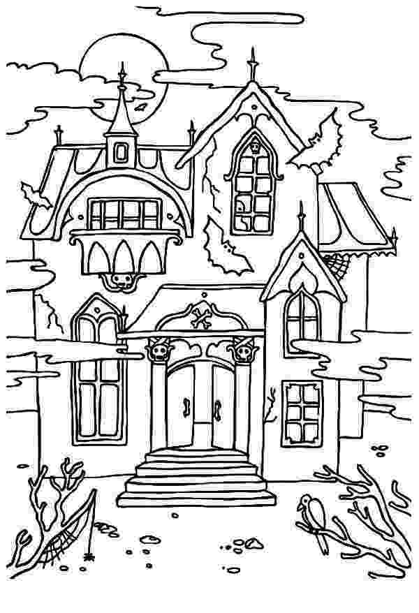 haunted house to color free printable haunted house coloring pages for kids house haunted to color