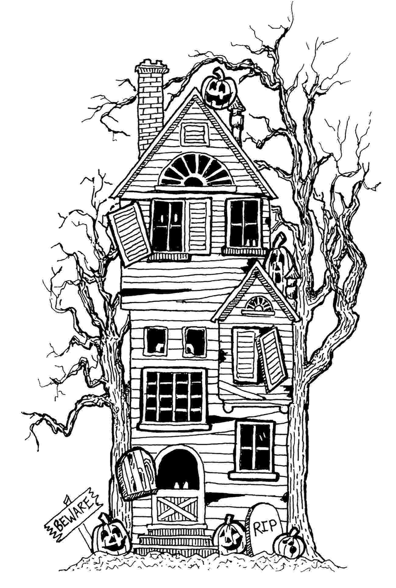 haunted house to color halloween big haunted house halloween adult coloring pages to haunted color house