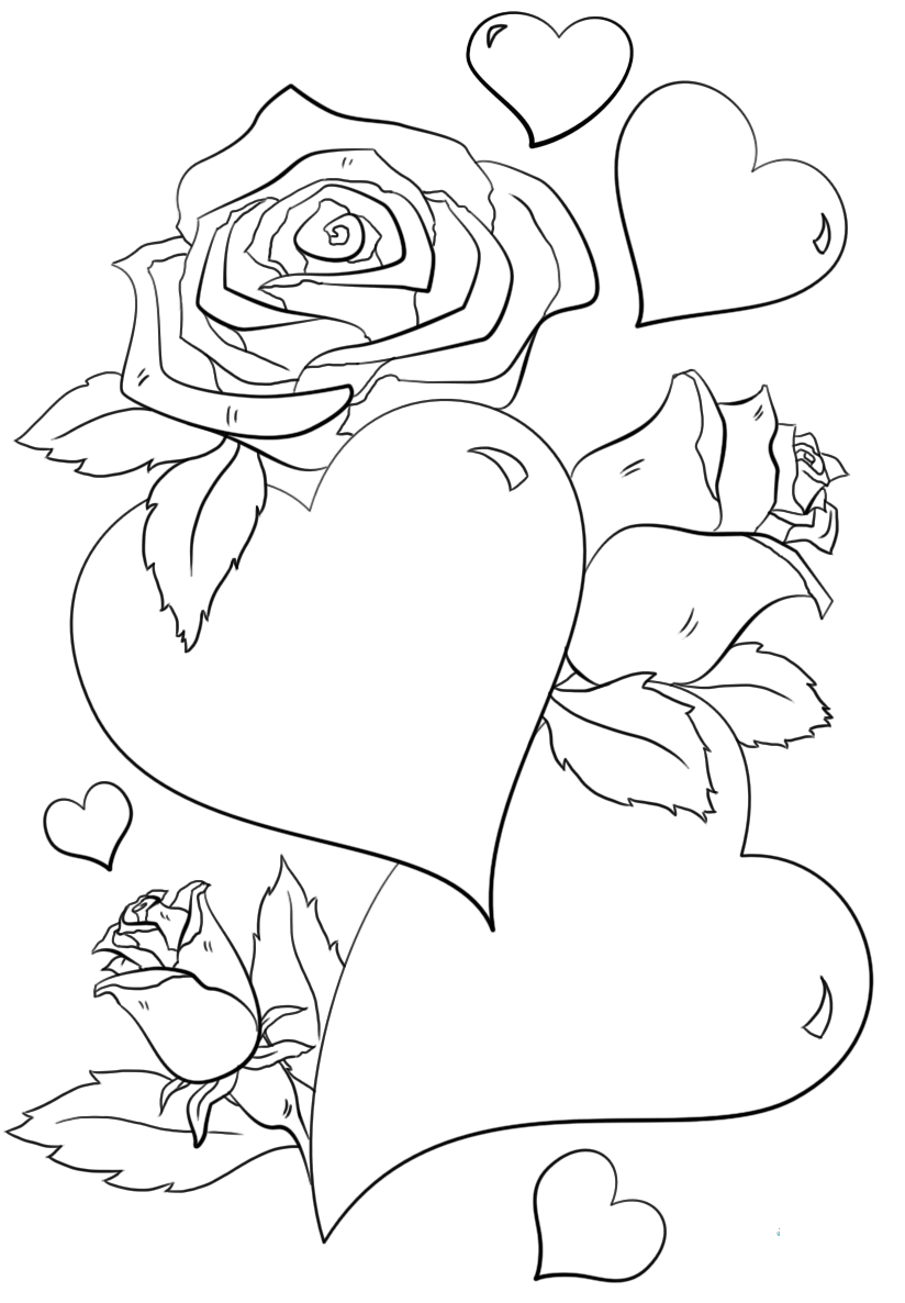 hearts and flowers coloring pages heart and roses for valentines day coloring page for kids pages and flowers coloring hearts