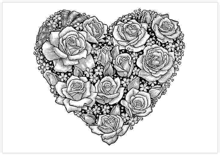 hearts and flowers coloring pages love roses and hearts drawings more pins like this at and flowers hearts pages coloring