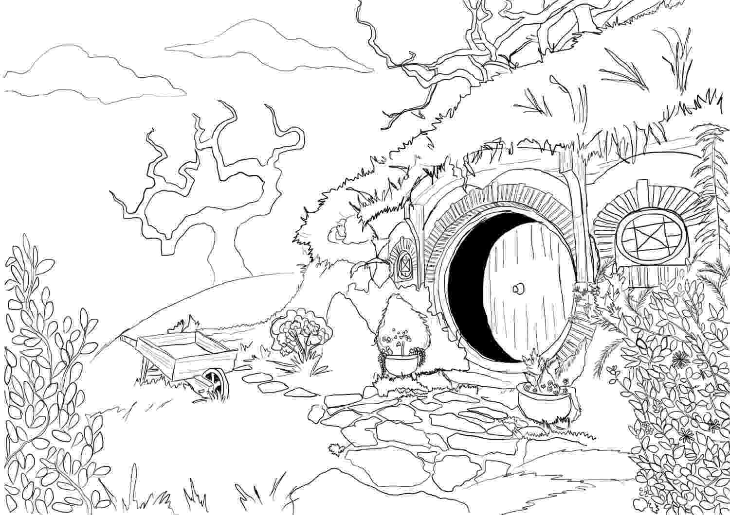 hobbit coloring pages adult coloring page hobbit house from lord of the rings coloring hobbit pages