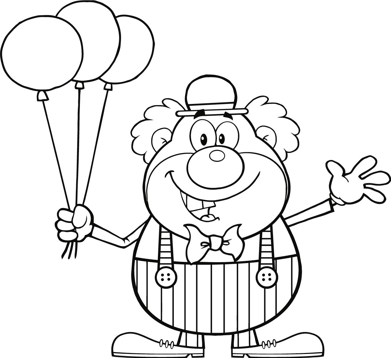 imagenes de payasos con globos para colorear circo payaso globos 012 dibujos y juegos para pintar y de globos imagenes colorear con para payasos