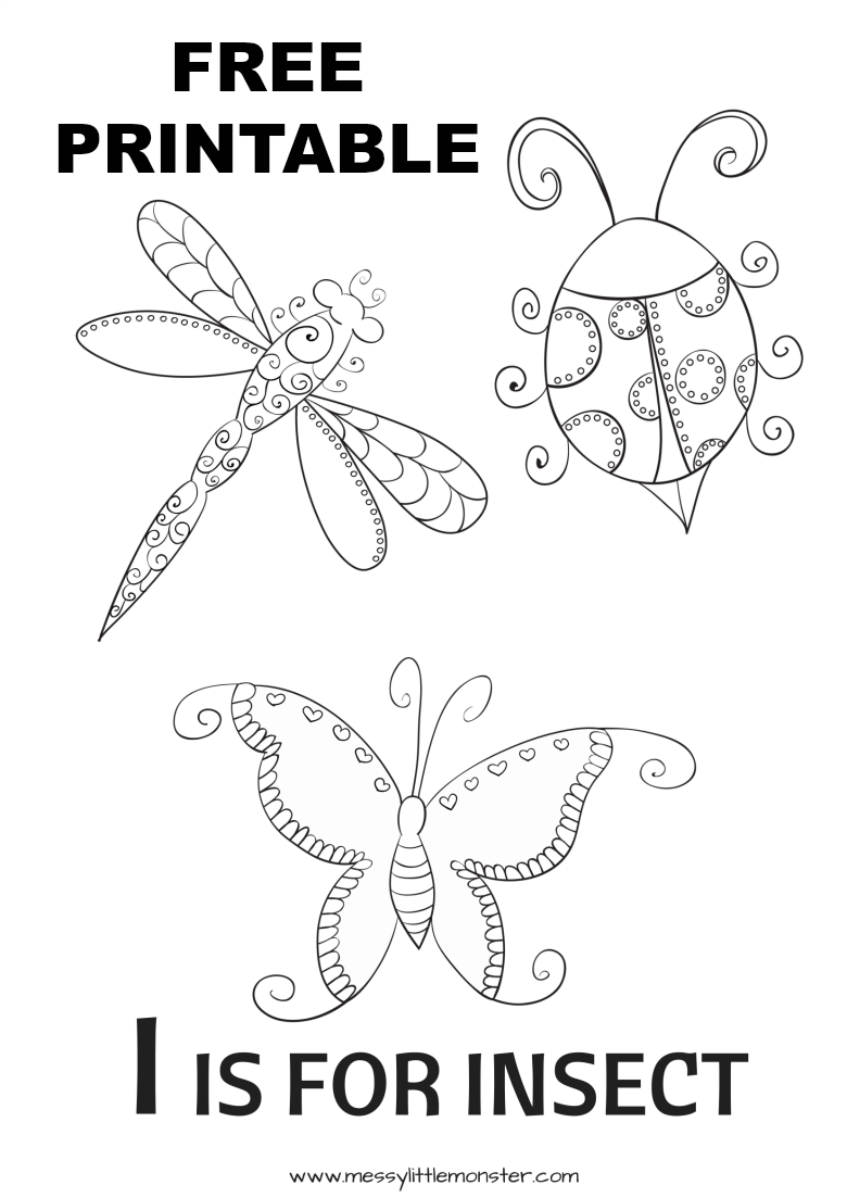 insects for coloring printable bug coloring pages for kids cool2bkids for coloring insects