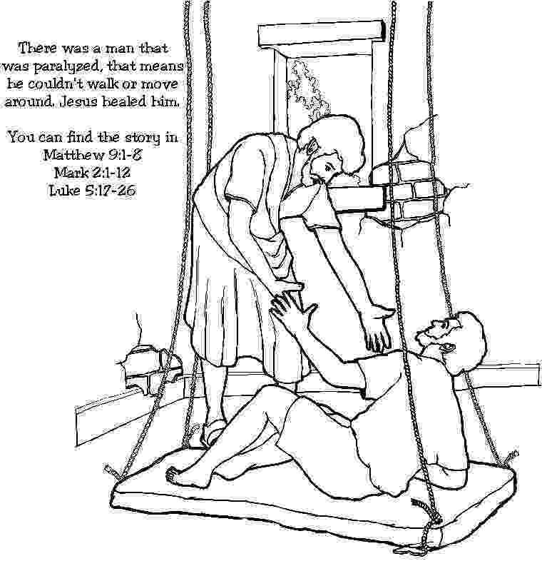 jesus heals paralyzed man coloring page coloring page of jesus39 healing of the paralytic on a mat heals page paralyzed coloring jesus man