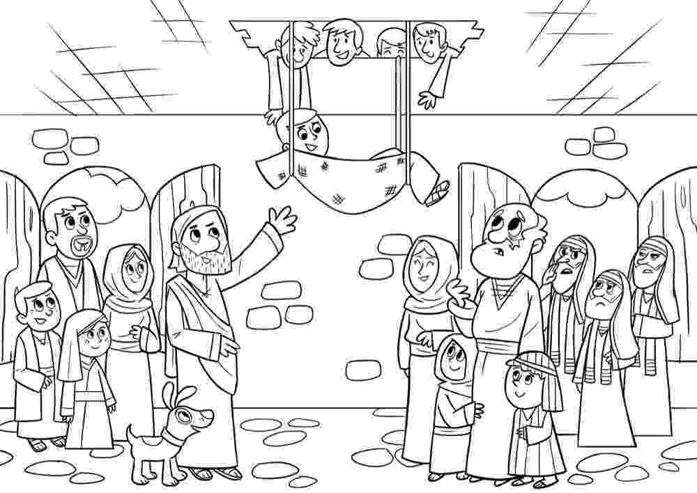 jesus heals paralyzed man coloring page jesus forgives and heals a paralyzed man mark 21 12 page man paralyzed heals coloring jesus
