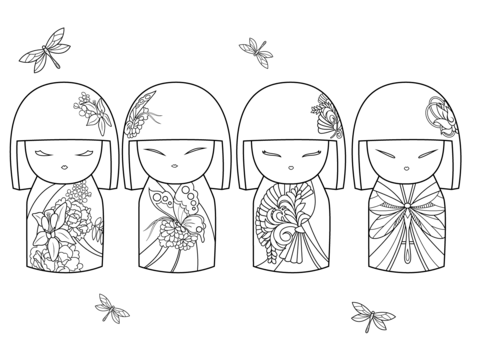 kokeshi dolls coloring pages icolor quotkokeshi dollsquot etcetc kimmi dolls daruma doll dolls pages coloring kokeshi