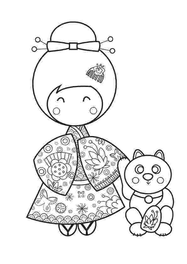 kokeshi dolls coloring pages kimmi doll with dragonfly pattern coloring page doll kokeshi dolls pages coloring