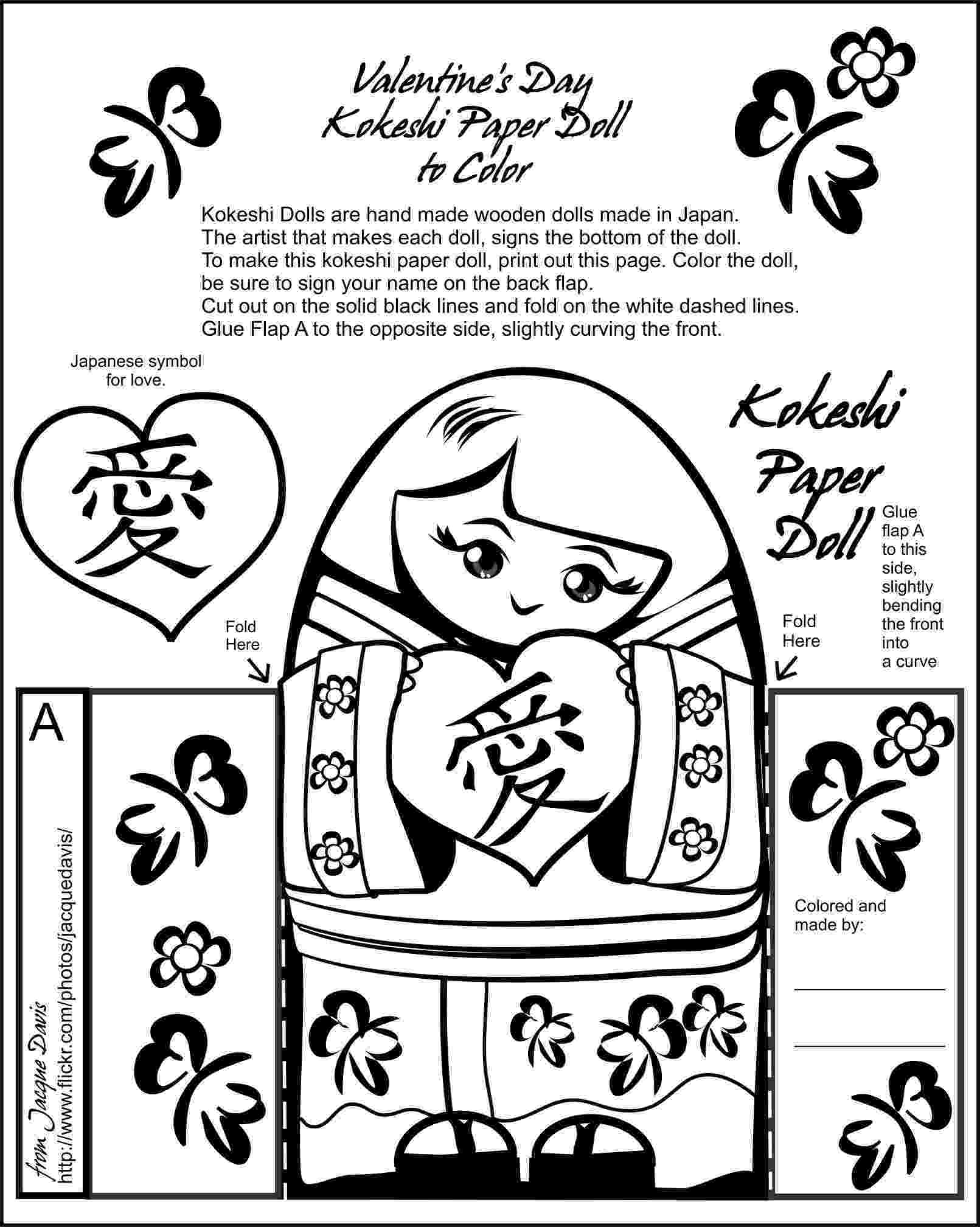 kokeshi dolls coloring pages valentine39s day kokeshi paper doll to color flickr dolls coloring pages kokeshi