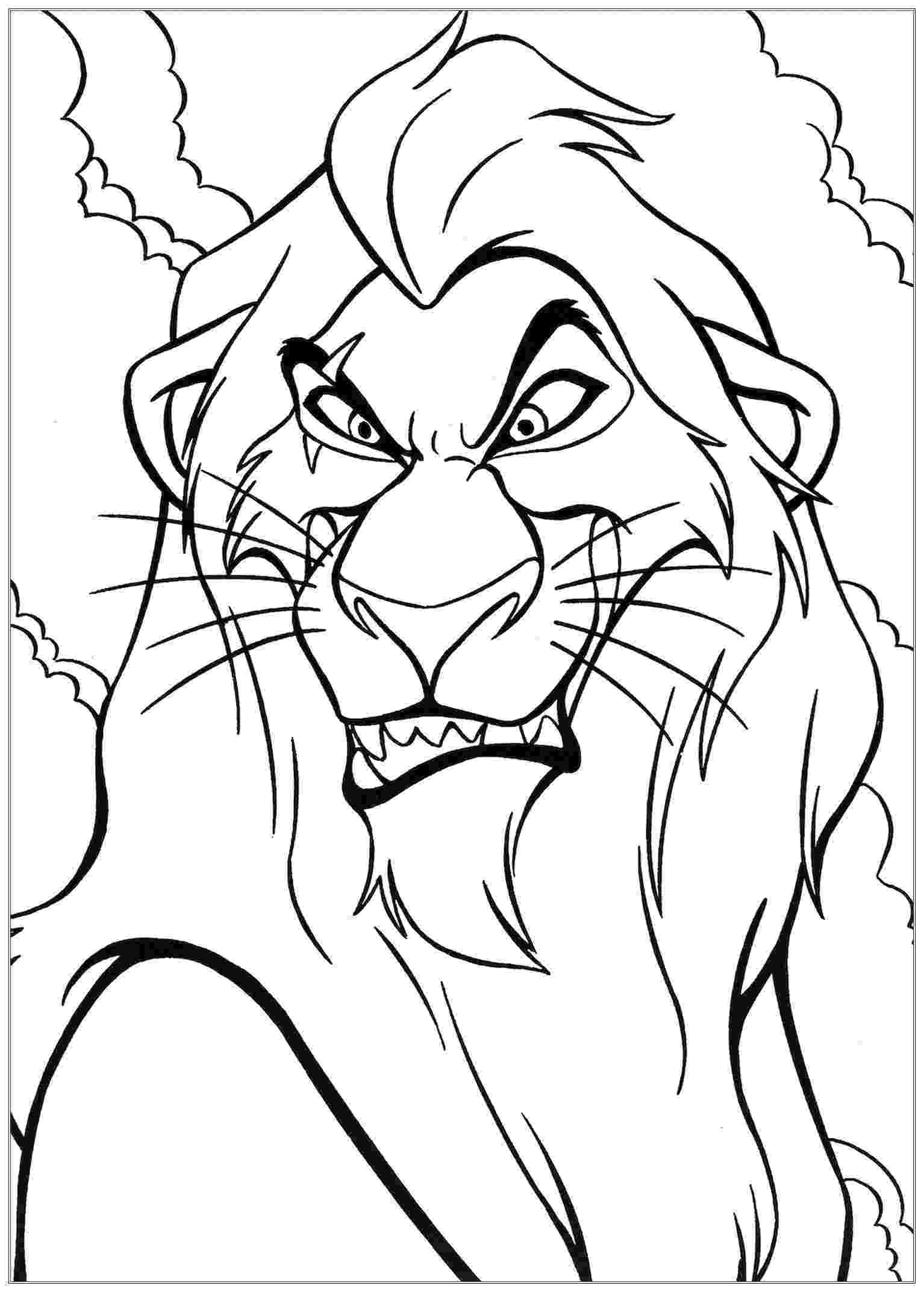 lion pictures for colouring scar the lion king kids coloring pages colouring lion for pictures
