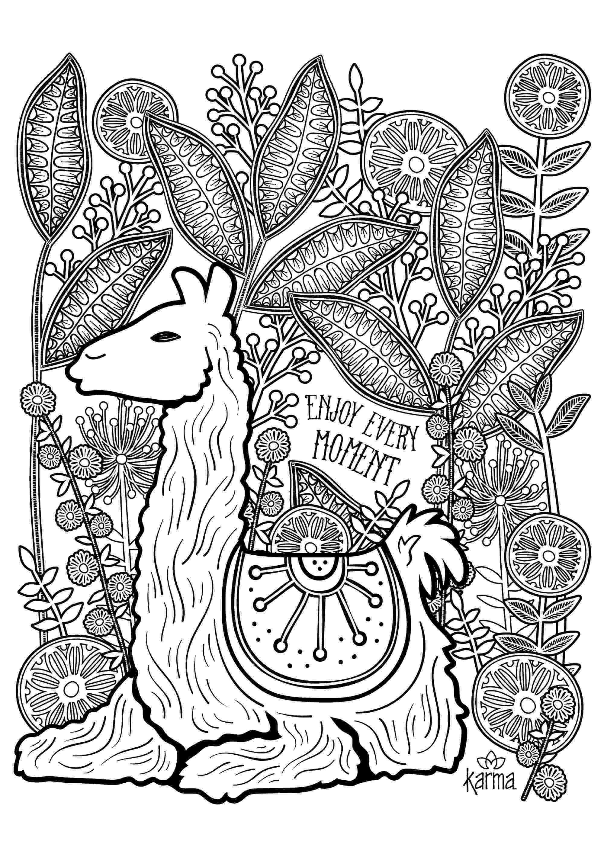 llama coloring pages llama enjoy every moment llamas adult coloring pages llama pages coloring