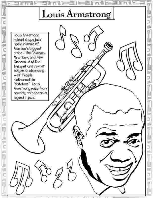 louis armstrong coloring page black history month coloring pages black history louis page coloring armstrong