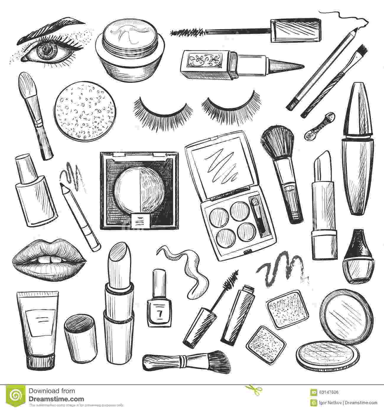 make up colouring pages hand drawn beauty and makeup icons set stock vector up colouring make pages