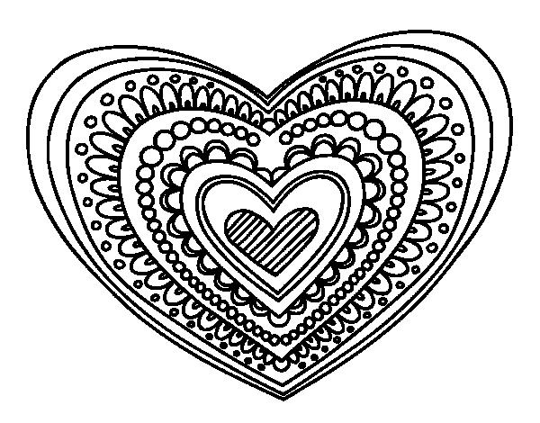 mandala heart printable heart mandala illustration instant download heart mandala