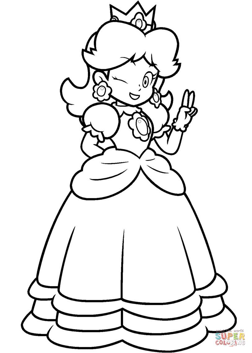 mario princesses mario princess daisy coloring page free printable princesses mario