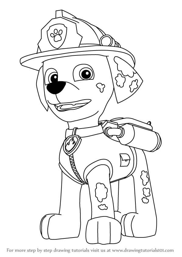 marshall from paw patrol paw patrol marshall drawing free download on clipartmag from patrol paw marshall