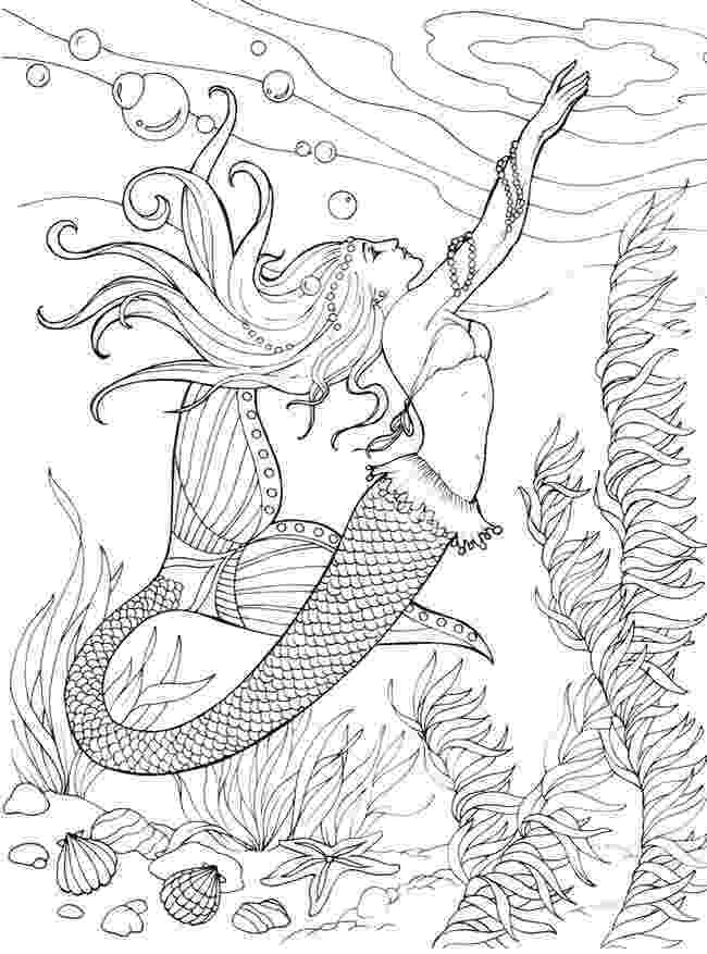 mermaid color mermaid coloring pages for adults best coloring pages color mermaid