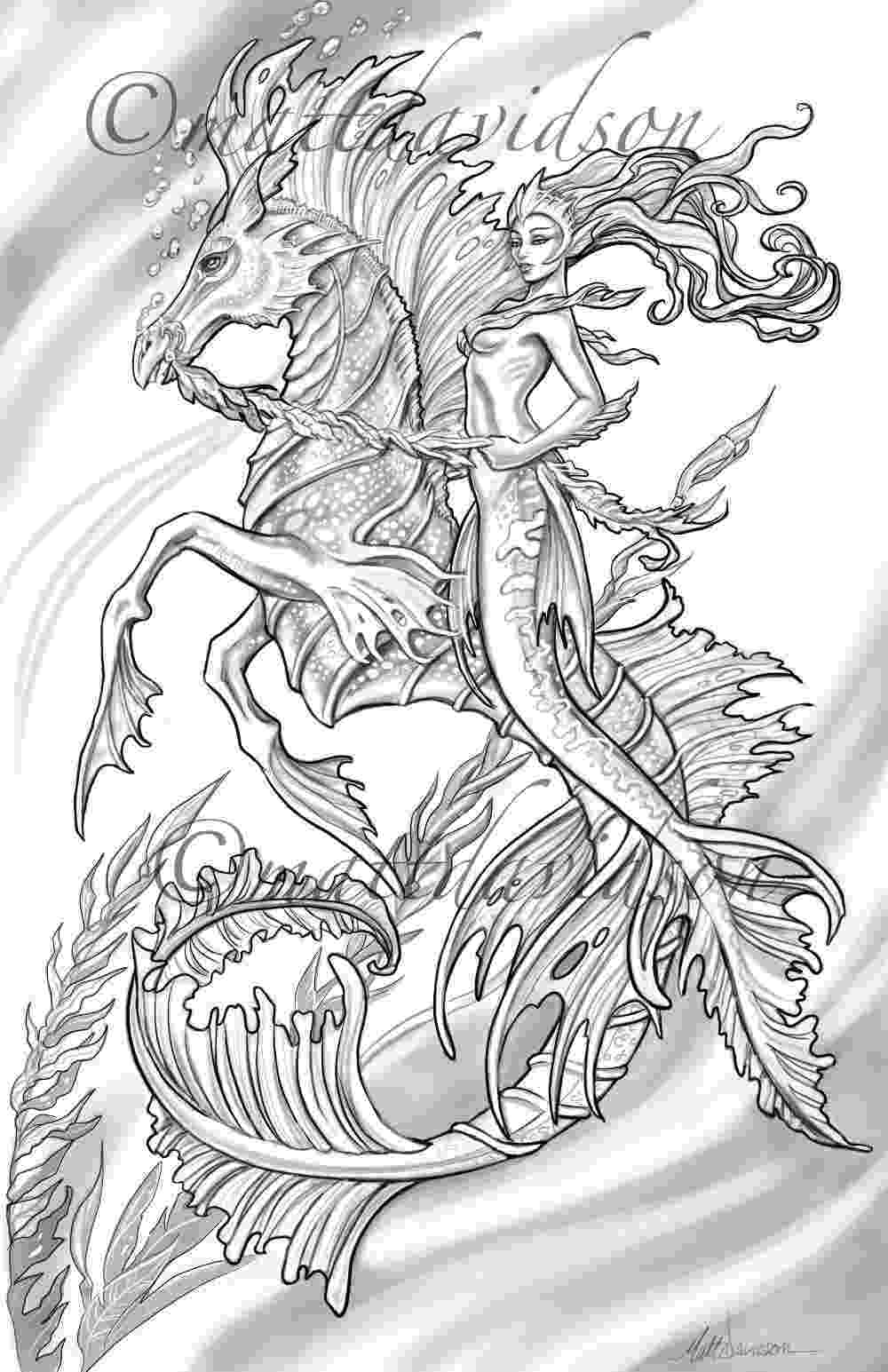 mermaid coloring pages for adults aquilla and her steed morceffyl seahorse and mermaid adults for pages mermaid coloring