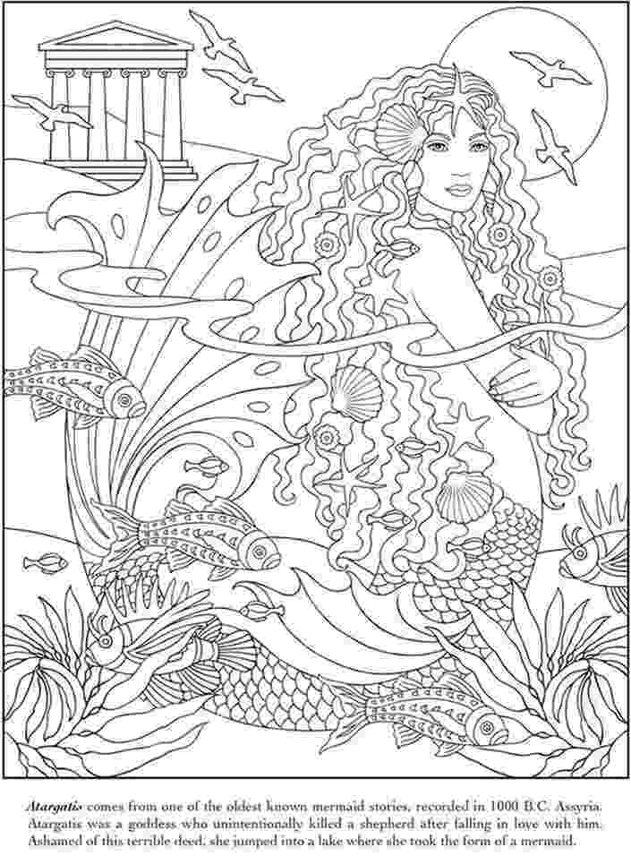 mermaid coloring pages for adults atargatis the mermaid goddess advanced coloring pages for for adults pages mermaid coloring