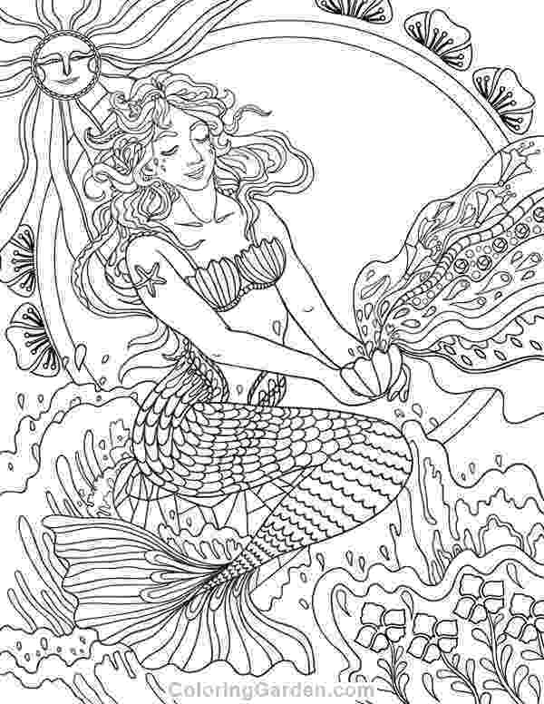 mermaid coloring pages for adults free printable art nouveau mermaid adult coloring page mermaid coloring pages for adults