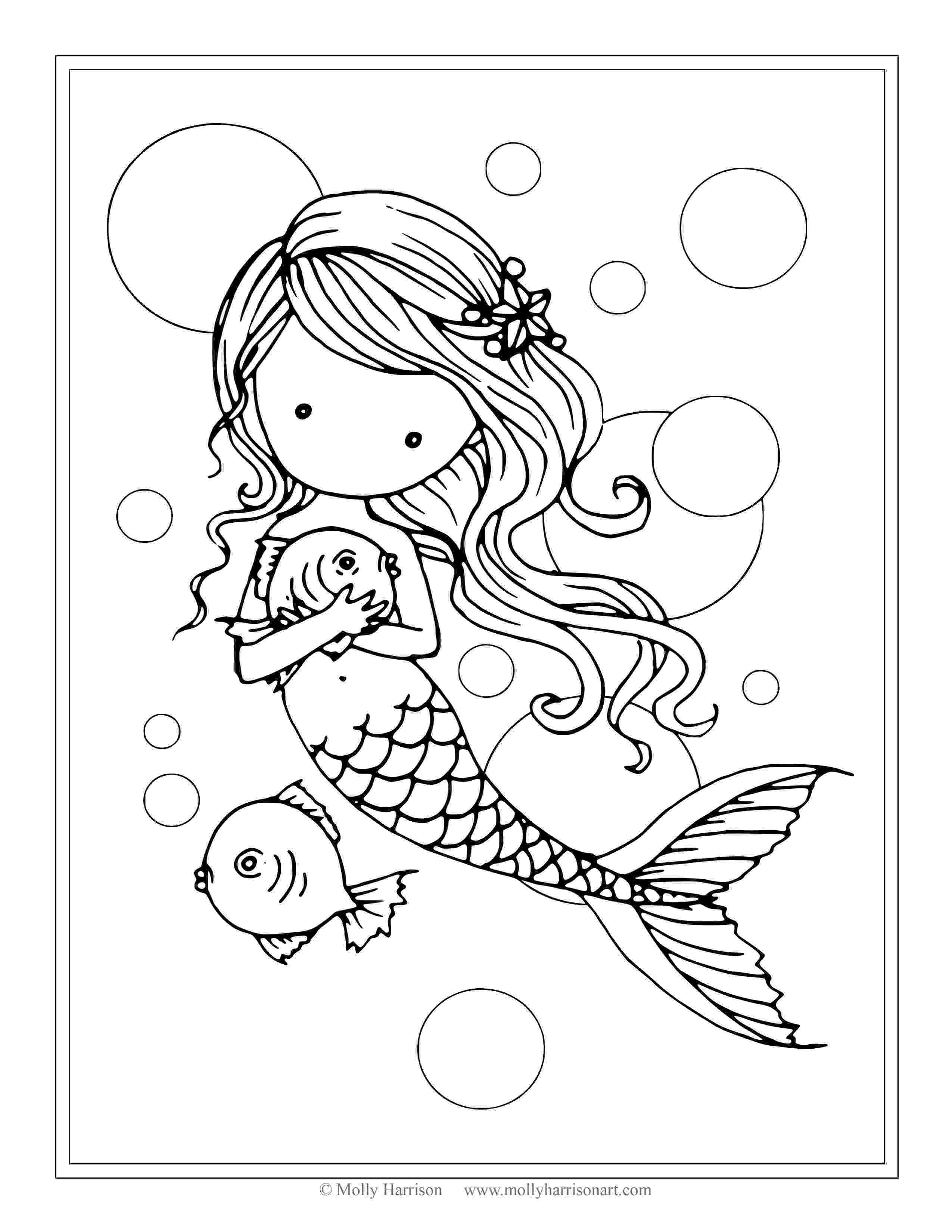 mermaid coloring sheets free mermaid with fish coloring page by molly harrison sheets mermaid coloring