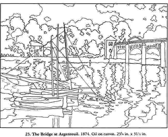 monet colouring pages free coloring page from dover the bridge from argenteuil colouring monet pages