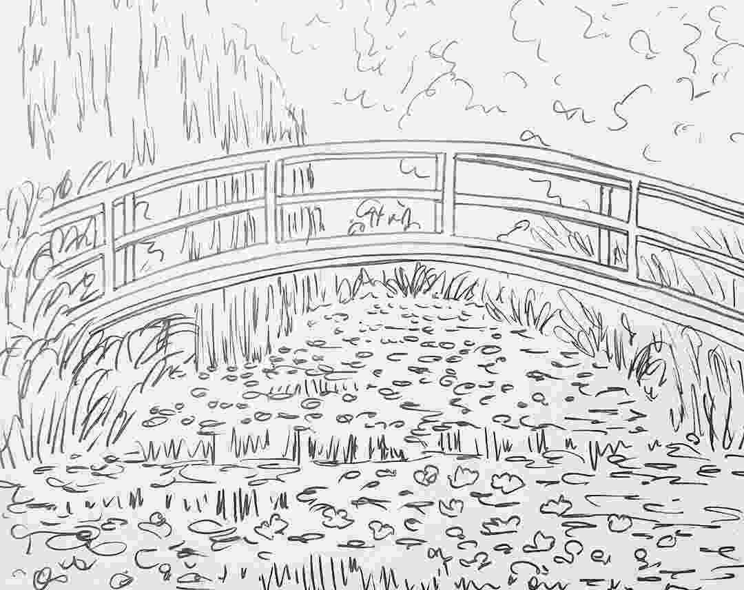 monet colouring pages monet bridge over waterlilies pond traceable monet colouring pages