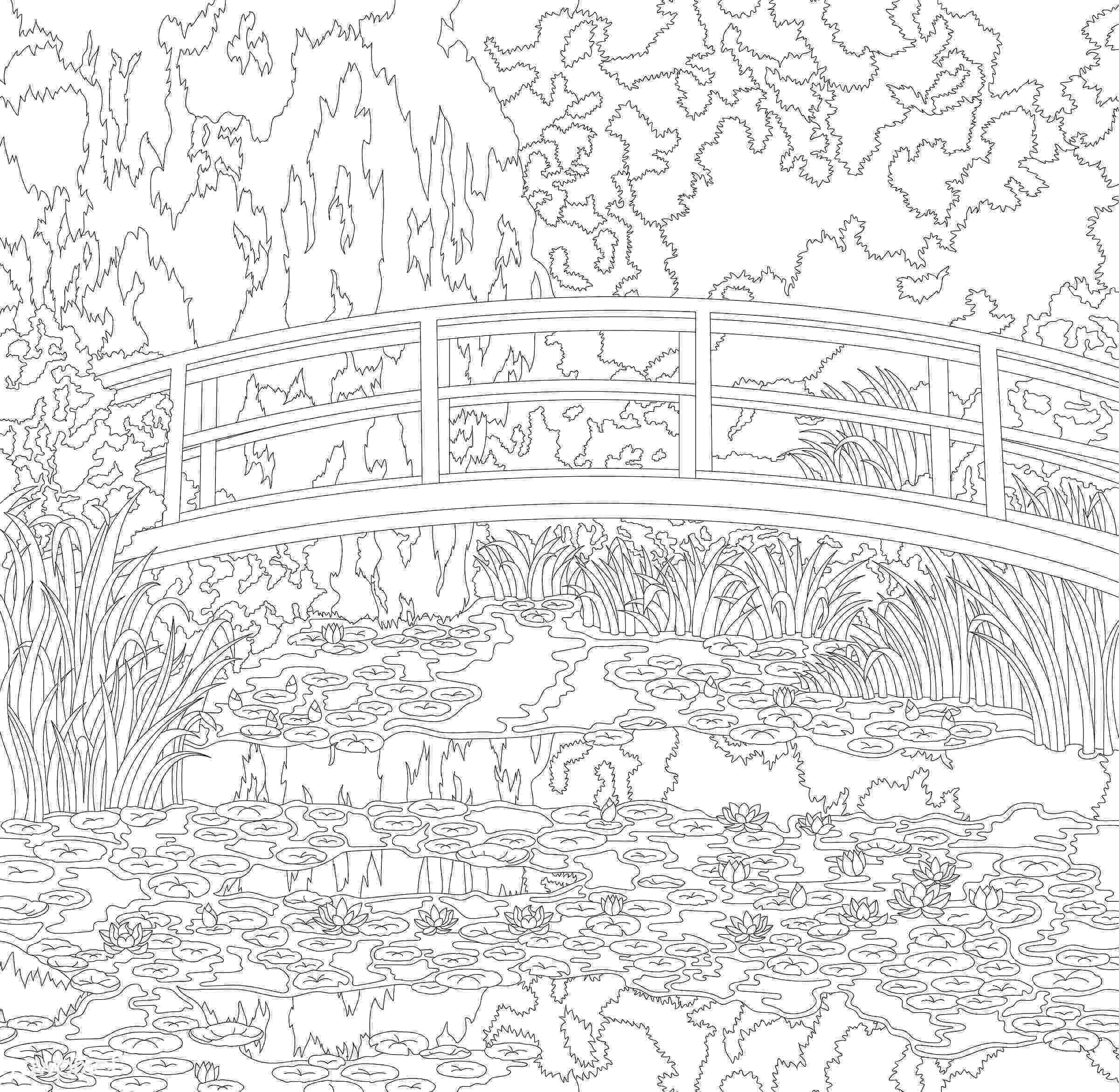 monet colouring pages the water lily pond 1899 by claude monet adult coloring colouring monet pages