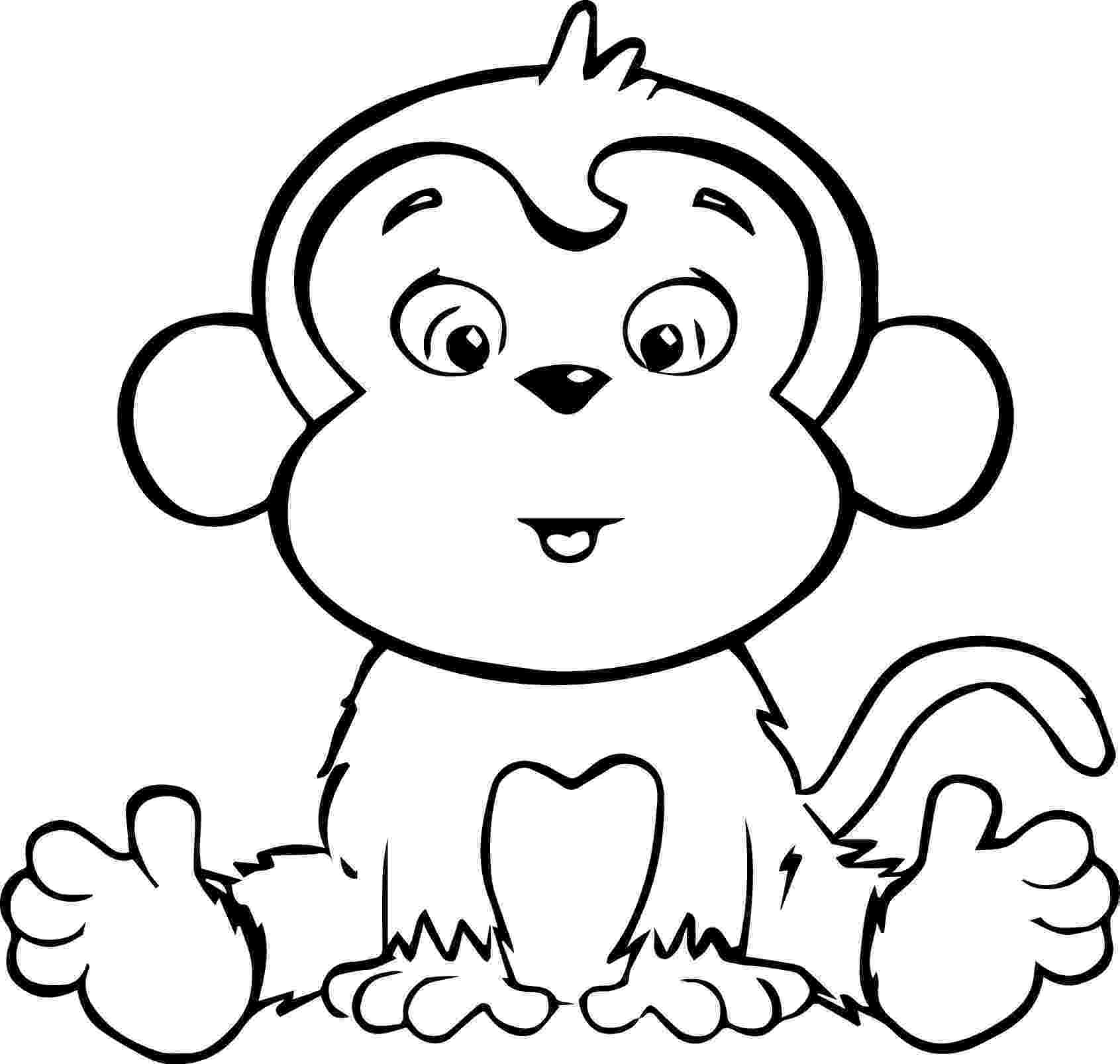 monkey cartoon coloring best monkey outline 16597 clipartioncom monkey coloring cartoon