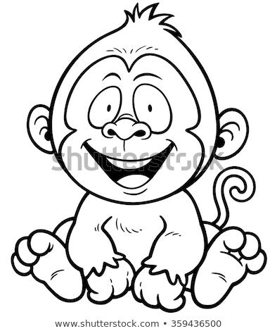 monkey cartoon coloring cute funny bunny big eyes vector stock vector 72460012 monkey cartoon coloring