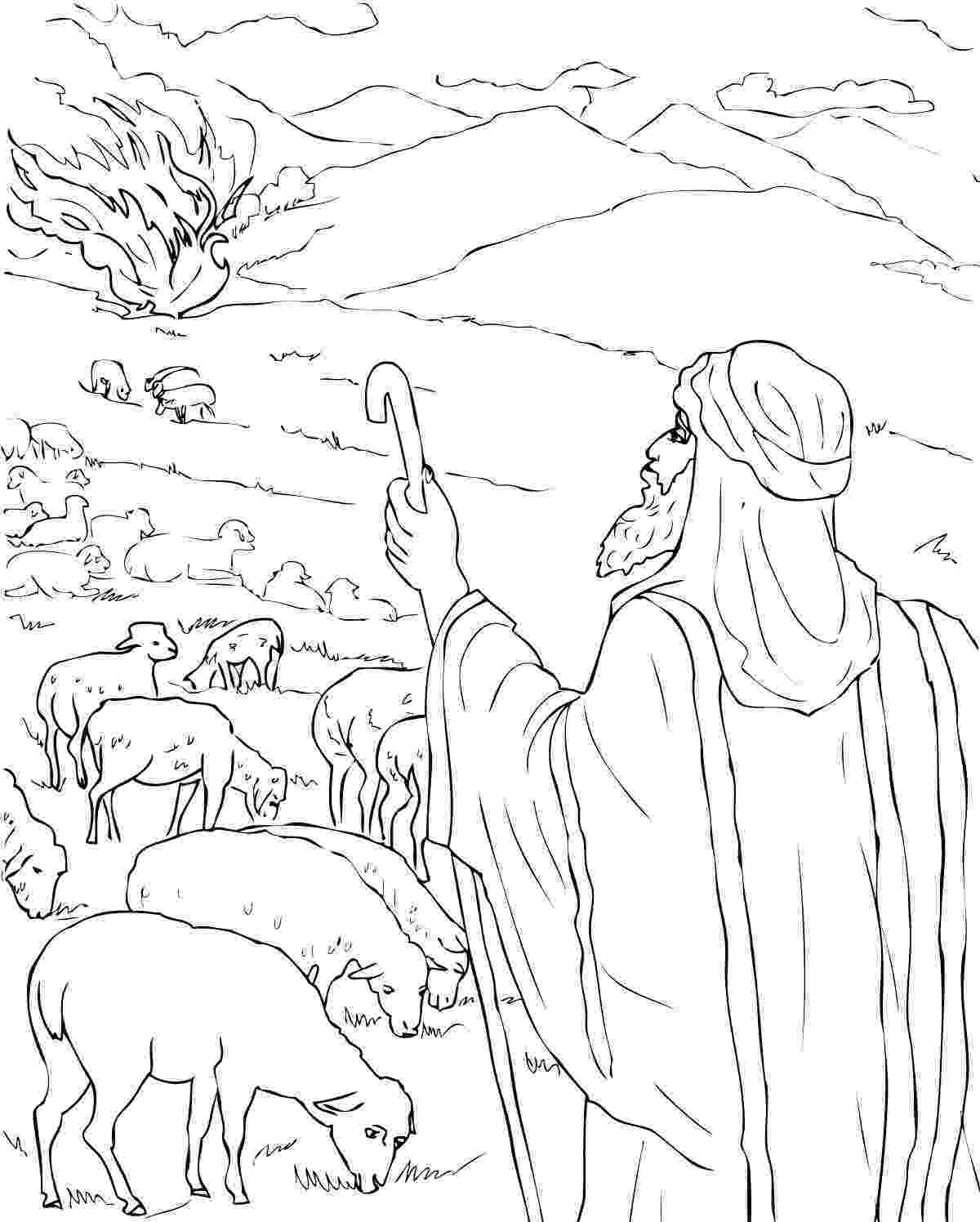 moses coloring pages moses the burning bush coloring page free printable coloring pages moses
