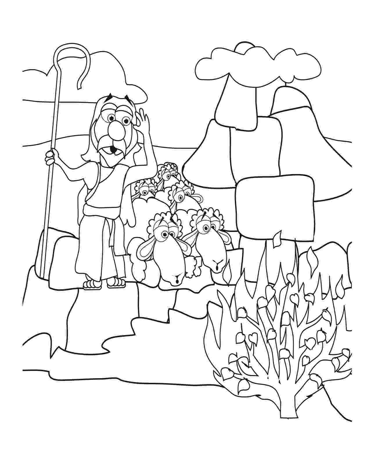 moses coloring pages mr biblehead moses and the nonburning bush exodus 3 coloring pages moses