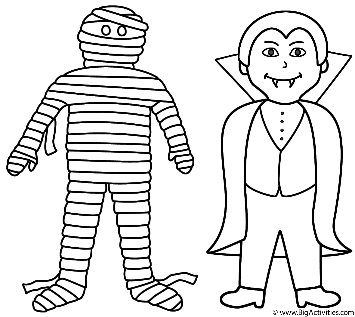 mummy coloring page mummy with vampire coloring page halloween coloring page mummy