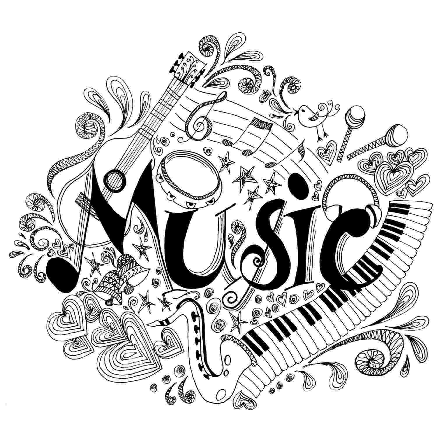 music coloring sheets printable coloring page zentangle music coloring book sheets music coloring