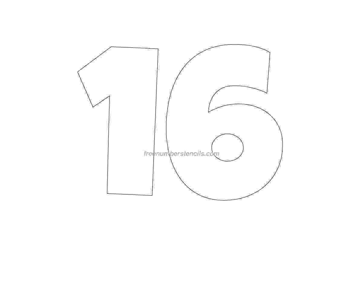 number 16 template free giant 16 number stencil freenumberstencilscom 16 template number