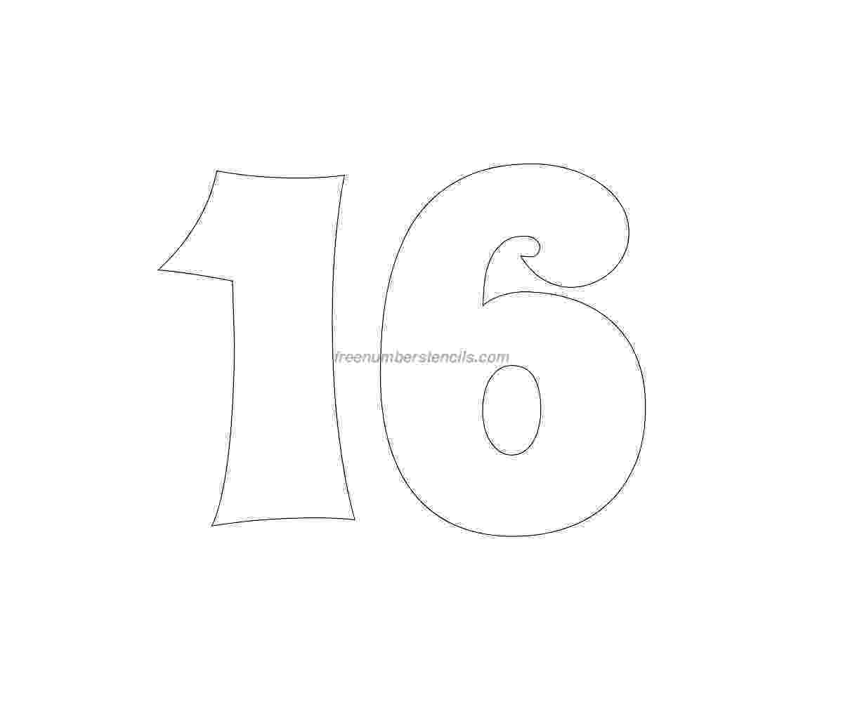 number 16 template free groovy 16 number stencil freenumberstencilscom template number 16