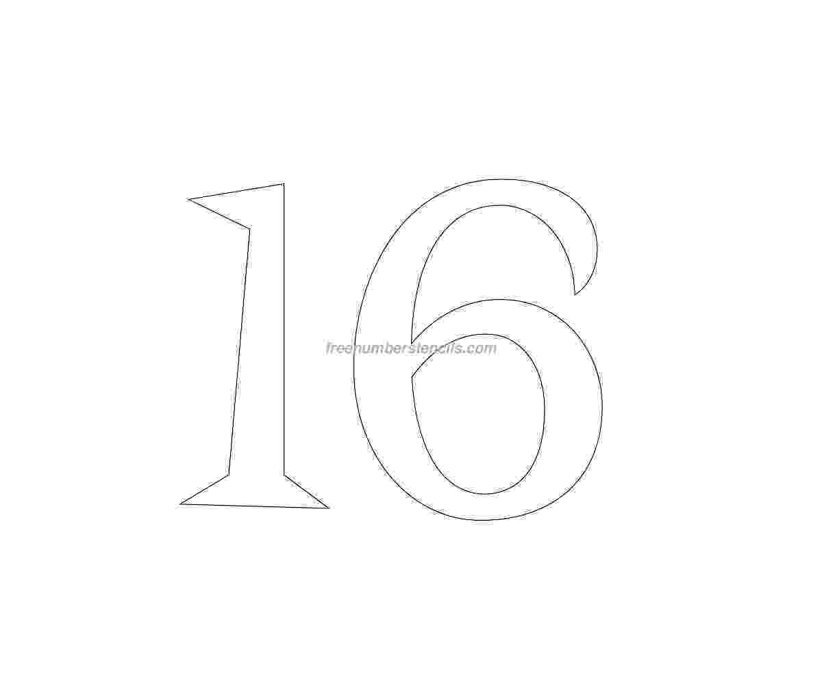 number 16 template retro number stencils archives freenumberstencilscom template 16 number