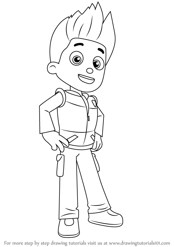 paw patrol ryder coloring page step by step how to draw ryder from paw patrol page patrol paw coloring ryder
