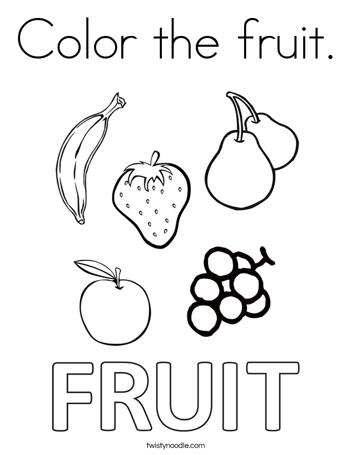 picture of fruits for colouring color the fruit coloring page twisty noodle of colouring for fruits picture
